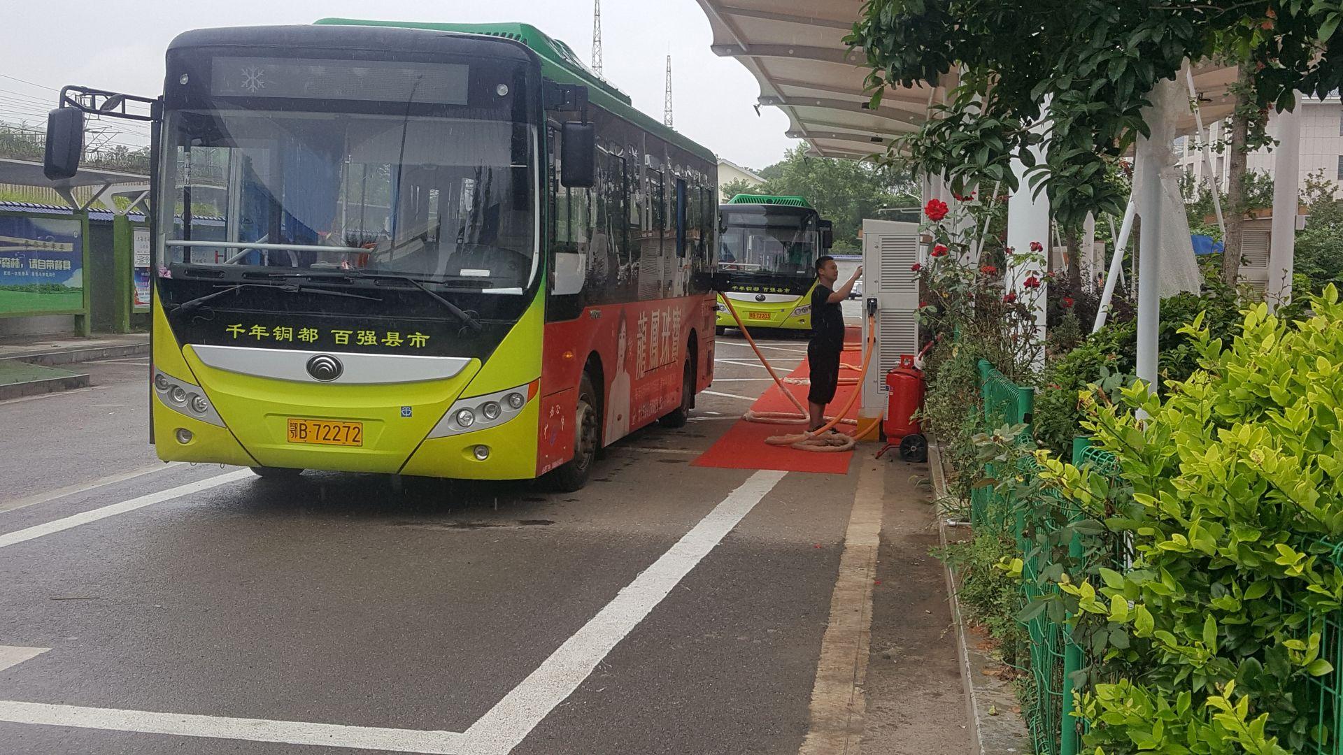 大冶市纯电动新能源公交车充电桩建成投入使用