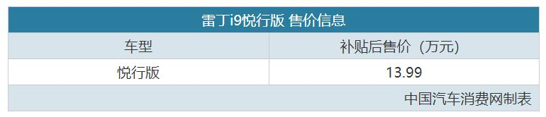 综合补贴后售13.99万 雷丁i9新车型上市