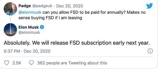 订阅付费!马斯克发推表示2021年初推出FSD