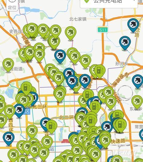 2018北京市新能源汽车充电桩地图分布一览